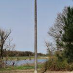 Vom zukünftigen Storchenhorst steht der durch die Firma HTI GmbH Havelberg aufgestellte Mast, Foto: © Frank Ermer